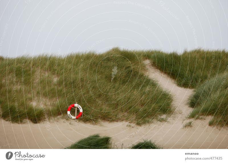 Dünenrettung Schwimmen & Baden Ferien & Urlaub & Reisen Tourismus Strand Meer Gras Sträucher Küste Sand grün Rettungsring Stranddüne Dünengras Kreis rot-weiß