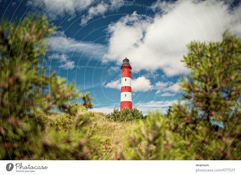 Leuchtturm Ferien & Urlaub & Reisen Tourismus Natur Landschaft Himmel Wolken Baum Sträucher Park Hügel Küste Nordsee Amrum Nordseeinsel Hafenstadt Bauwerk