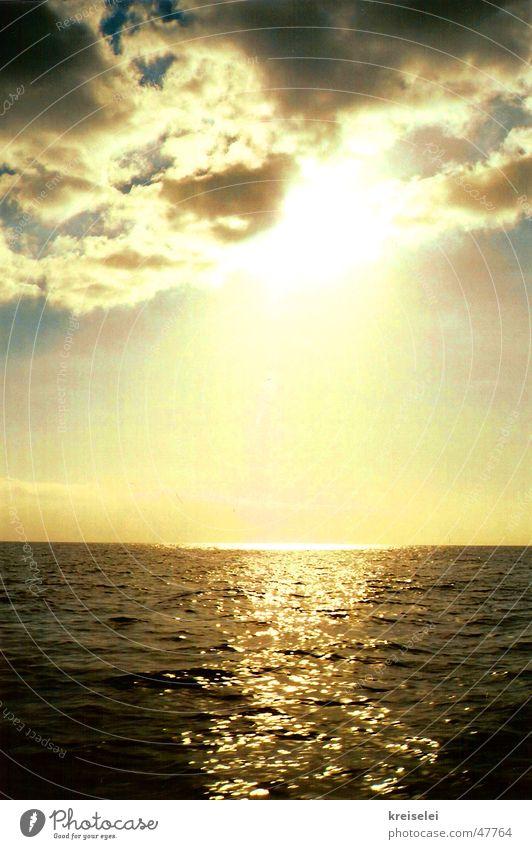 sanfter abschied Wasser Himmel Sonne Meer Wolken Sonnenuntergang