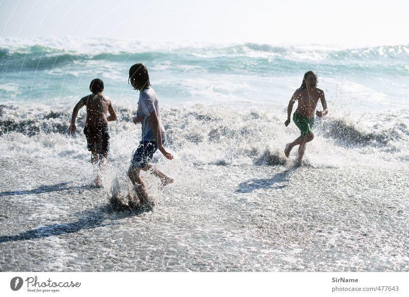 240 [mit der Brandung rennen] Leben Kinderspiel Ferien & Urlaub & Reisen Abenteuer Freiheit Sommerurlaub Wassersport Junge Kindheit Jugendliche 3 Mensch