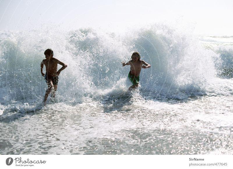 239 [mit der Brandung rennen] Mensch Kind Natur Jugendliche Ferien & Urlaub & Reisen Wasser Sommer Meer Strand Leben Junge Spielen Freiheit Schwimmen & Baden Freizeit & Hobby Wellen