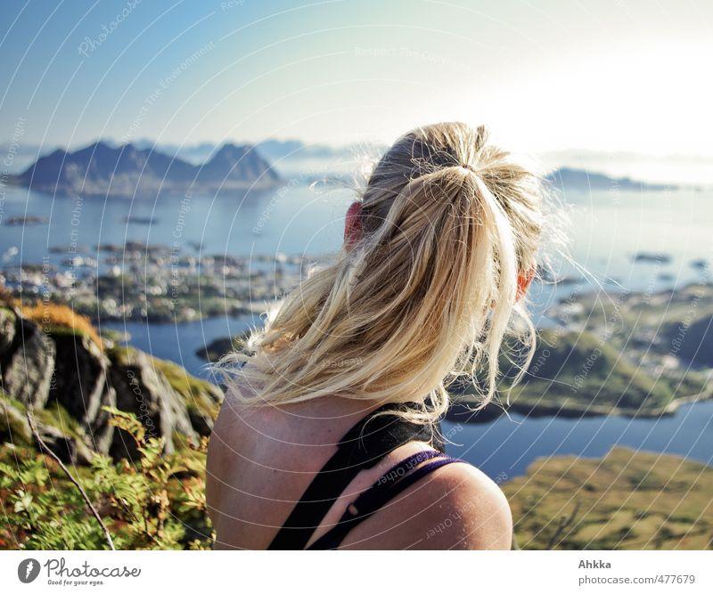 Weitblick Natur Ferien & Urlaub & Reisen Landschaft ruhig Ferne Berge u. Gebirge Gefühle Haare & Frisuren Freiheit Denken Kopf Horizont Stimmung maskulin Erfolg