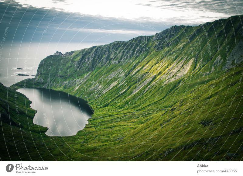 Lofoten XVI Natur Ferien & Urlaub & Reisen grün Meer Einsamkeit Landschaft Ferne dunkel Berge u. Gebirge Gefühle Freiheit Denken außergewöhnlich Stimmung wild