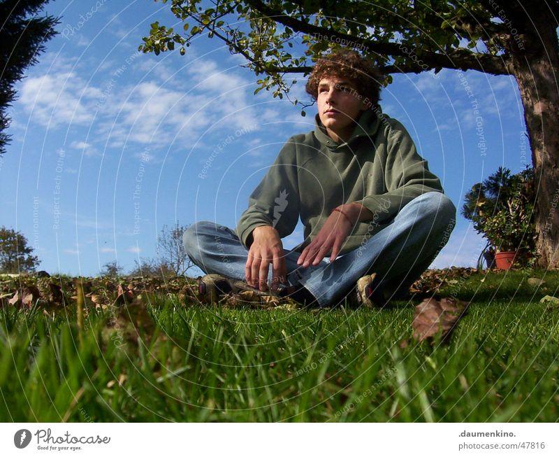 Harmonisierung meines Wohlbefindens Wolken Wiese Gras Baum Blatt Philosophie Sinnesorgane Gedanke Denken Pause Pullover Turnschuh Blume Armband