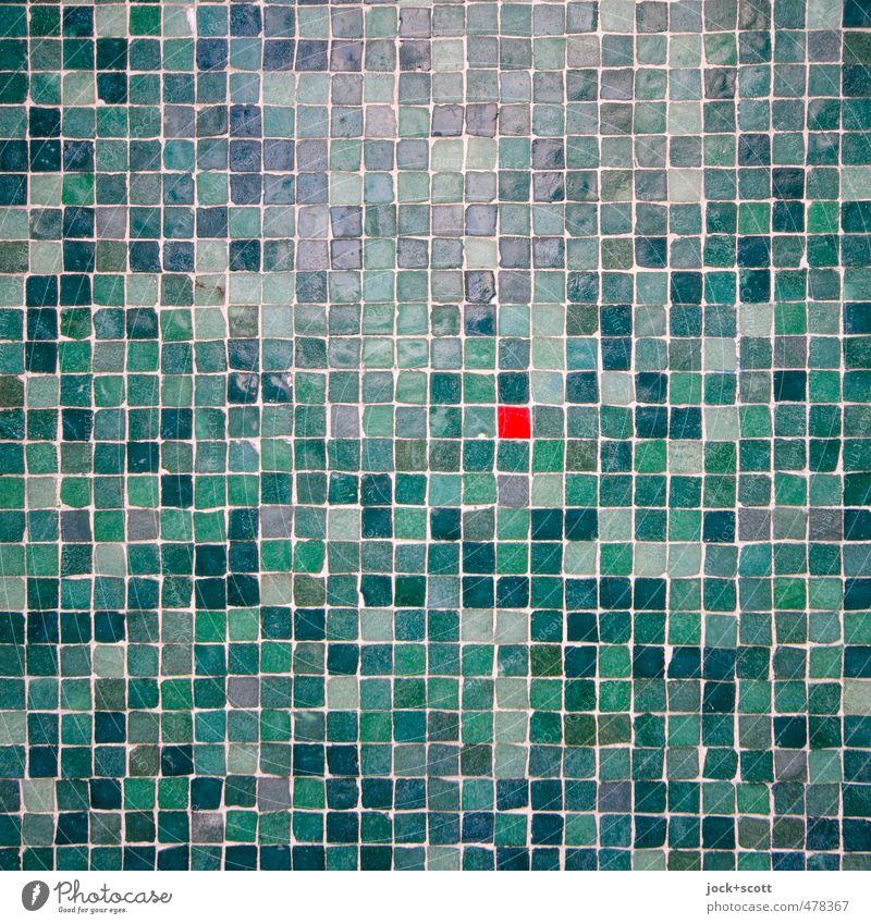 Rot im Grünen schön grün rot Wärme Wand Mauer klein Stein Linie Fassade glänzend elegant modern Dekoration & Verzierung ästhetisch Kreativität