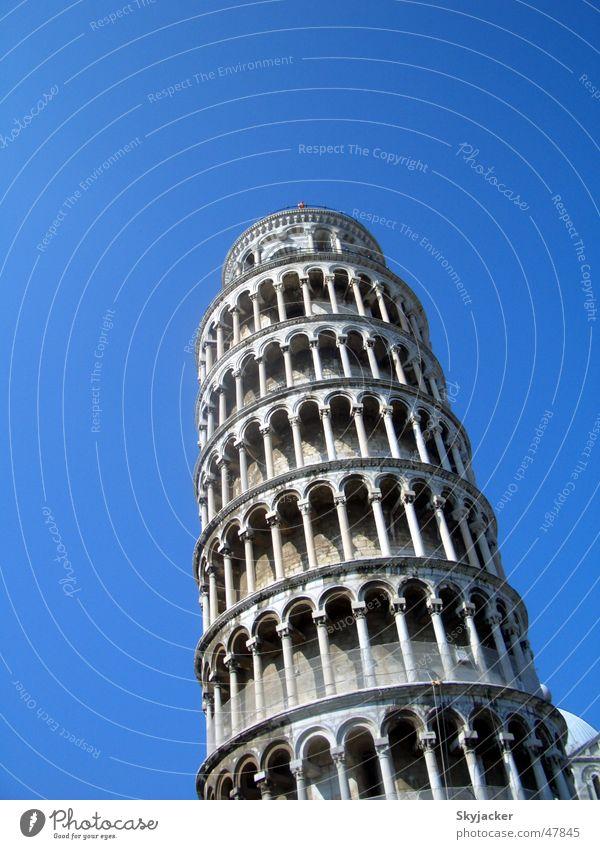der schiefe Turm alt Himmel blau Gebäude Baustelle Italien Denkmal Etage Wahrzeichen bauen Toskana PISA-Studie Neigung