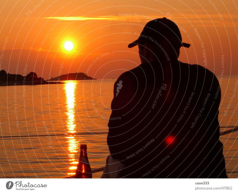 Sehnsucht Sonnenuntergang Mann Wasserfahrzeug Kroatien Himmel Schatten Insel