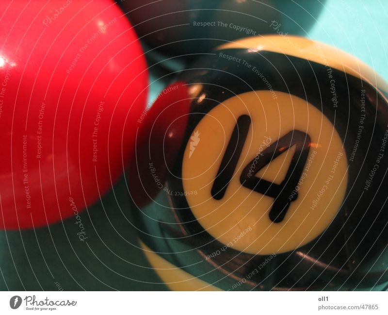 No 14 Billard Spielen Ziffern & Zahlen rot schwarz grün game Kugel Ball blau