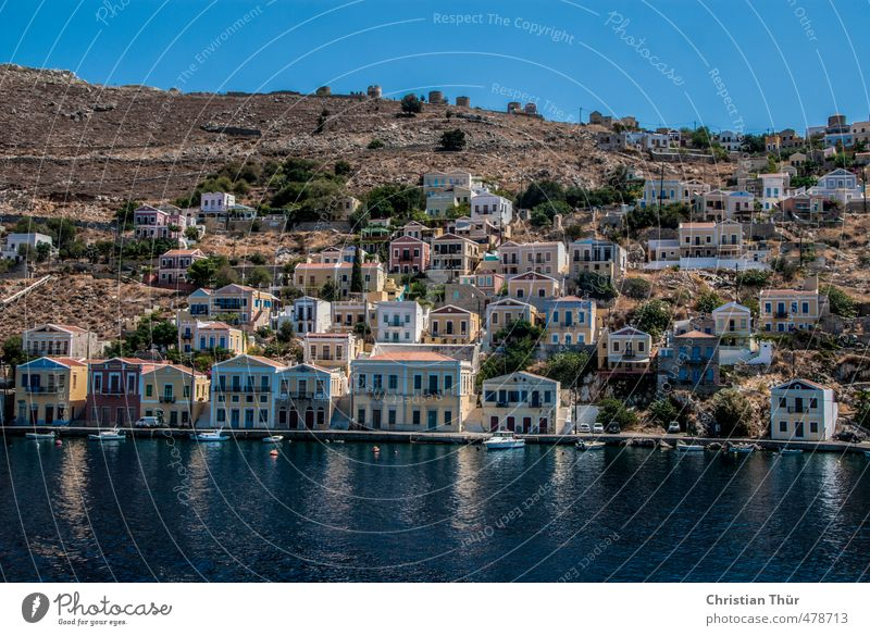 Insel Simy im Sommer Himmel Natur Ferien & Urlaub & Reisen Wasser Pflanze Sonne Meer Landschaft Tier Strand Haus Gefühle Architektur Küste Felsen