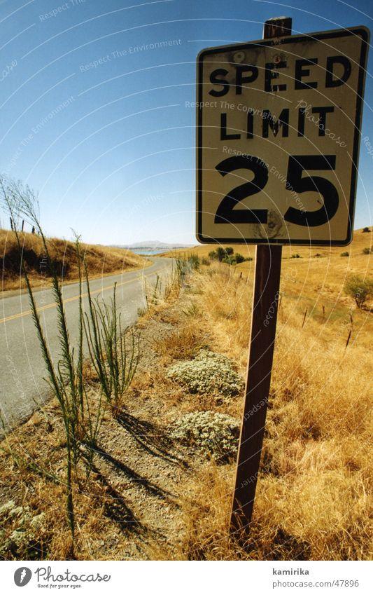 speedlimit25 blau Sonne gelb Straße Wege & Pfade Gras Sand Geschwindigkeit Wüste trocken Kalifornien Los Angeles