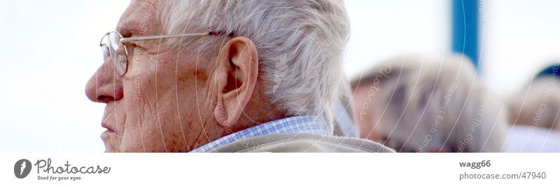 die Konzentration Mann Gesicht Senior grau Kopf Denken Familie & Verwandtschaft Zeit frei Mensch Brille Großvater Ruhestand