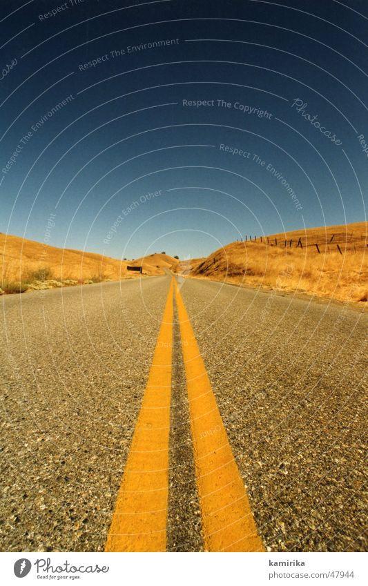 online blau Sonne gelb Straße Wege & Pfade Gras Sand Linie Geschwindigkeit Wüste Unendlichkeit Ewigkeit trocken Kalifornien Los Angeles