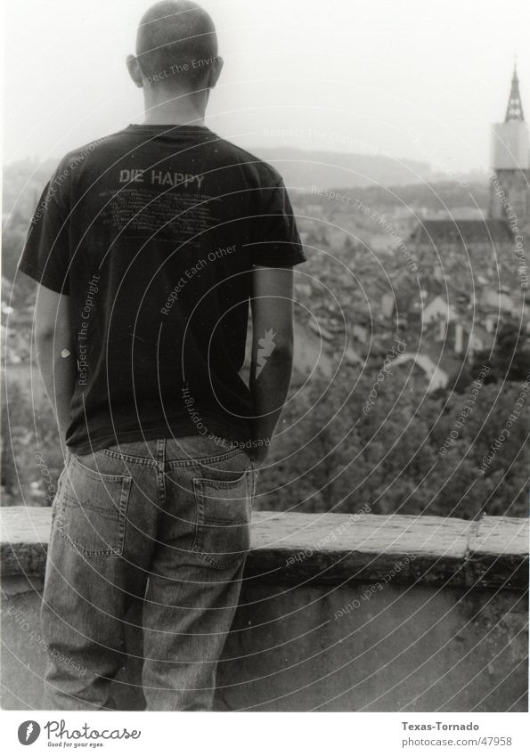 Über Bern Rosengarten Mann Stadt daweed Kanton Bern Rücken back überblicken Traurigkeit