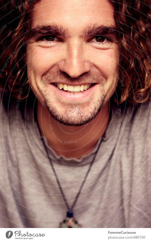 Man (IV). Mensch Jugendliche Mann schön Erholung Freude Junger Mann Gesicht Erwachsene 18-30 Jahre lachen Haare & Frisuren Glück Stil Kopf maskulin