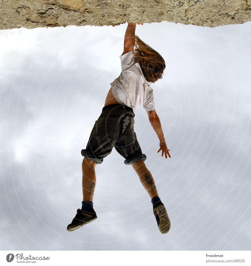 Hangin round gedreht Handstand Wolken einhändig Artist gefährlich ungeheuerlich hängen Zufriedenheit Haare & Frisuren Bergbau artistisch Tattoo Sand cloudy