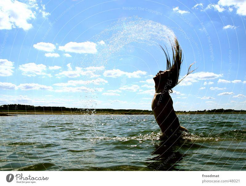 Wasserzeichen Himmel Sonne Sommer Wolken Wellen Schwimmen & Baden Wassertropfen Aktion langhaarig Swing auftauchen