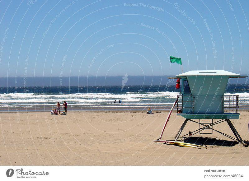 Santa Barbara Beach St. Barbara Amerika Strand Sommer Meer See Atlantik Haus türkis Bademeister Meister USA Sonne america Himmel ocean Schwimmen & Baden Sand
