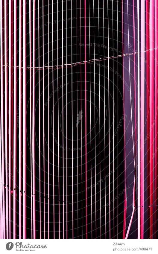 Stripes Vorhang Rollo ästhetisch eckig einfach elegant violett rosa Raster Muster abstrakt Linie graphisch mehrfarbig schwarz Farbfoto Innenaufnahme