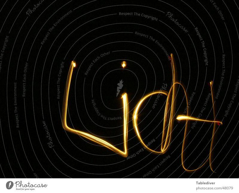 Lichtschrift schwarz dunkel Schriftzeichen Text