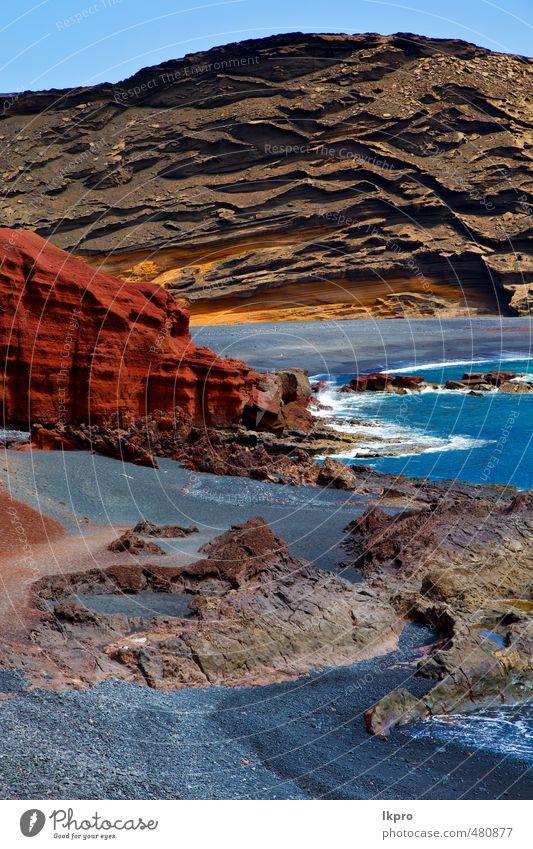 Himmel Natur Ferien & Urlaub & Reisen blau grün Sommer Meer Landschaft Wolken Strand gelb Küste Stein braun Sand Felsen