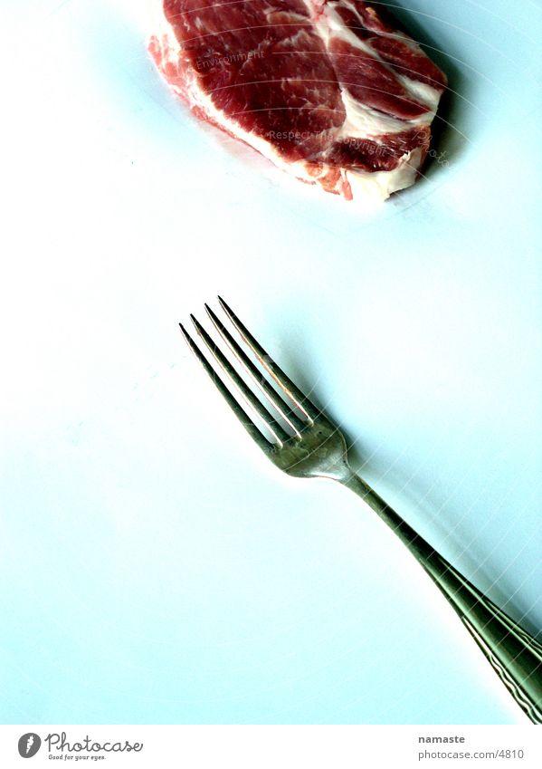 flesh and pain und gabel Fleisch rot Gabel Ekel Kuh Ernährung Wut Ärger Blut Rindfleisch
