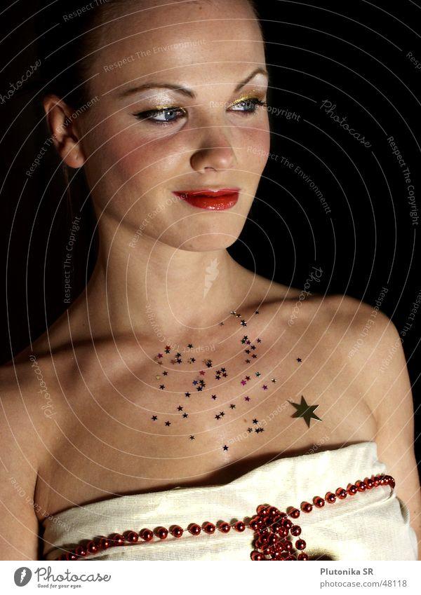 Das Schlüsselbein und die Sterne rot glänzend dunkel Lippen Schmuck Stern (Symbol) gold silber Kette Hals red Starruhm dark lips silver shiny necklace