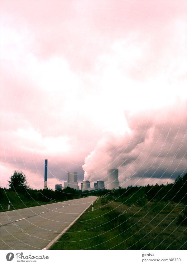 way to hell Himmel rot Wolken Straße Kraft Stromkraftwerke
