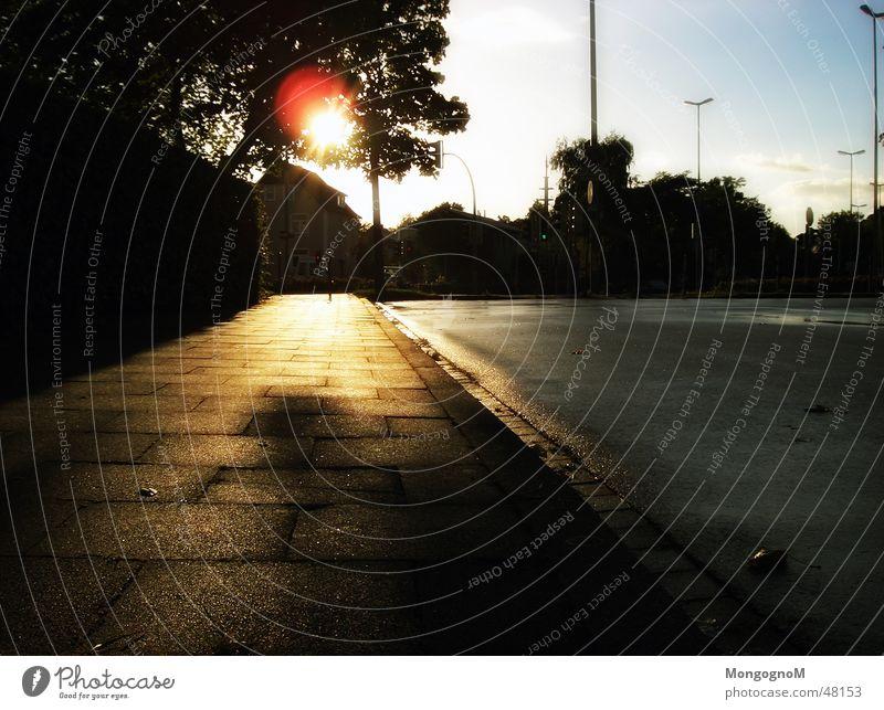nach dem Regen Sonne Straße Laterne Bürgersteig Ampel Straßenbeleuchtung Pfütze