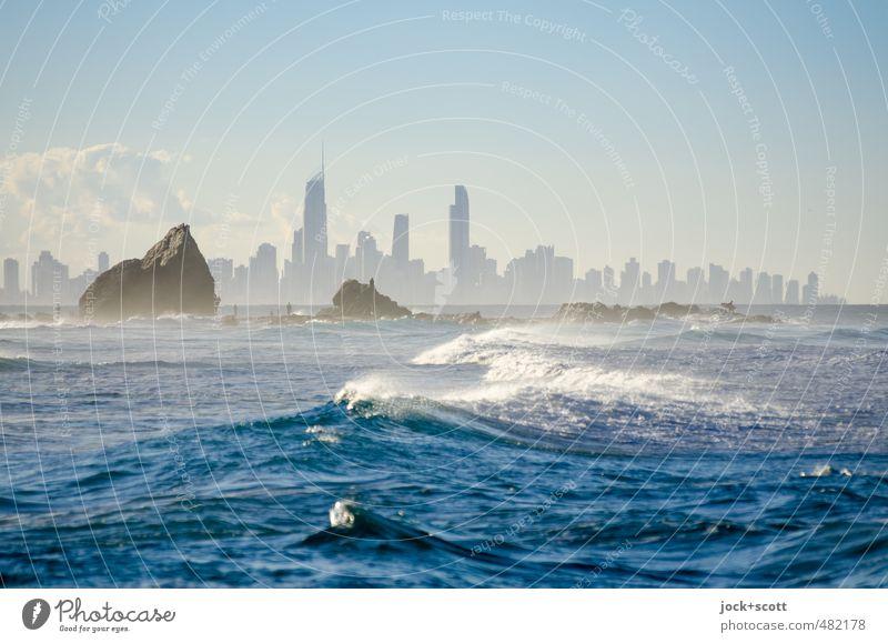 pan for gold Wolken Horizont Wind Wellen Küste Pazifik Surfers Paradies Gold Coast Skyline Architektur Stimmung Fortschritt Dunst tropisch Gischt