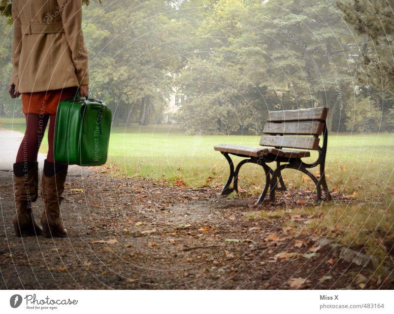 Ruhelos Mensch Jugendliche Ferien & Urlaub & Reisen Einsamkeit Ferne 18-30 Jahre Erwachsene dunkel feminin Herbst Wege & Pfade Freiheit Stimmung Park Nebel