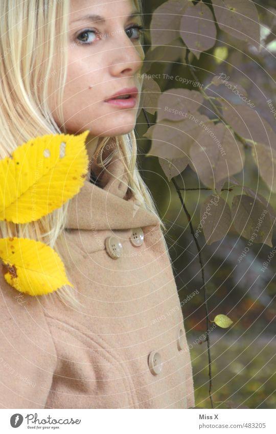 Gelb Grün schön Mensch feminin Junge Frau Jugendliche Gesicht 1 18-30 Jahre Erwachsene Herbst Schönes Wetter Blatt Park Wald Mantel blond langhaarig Erotik