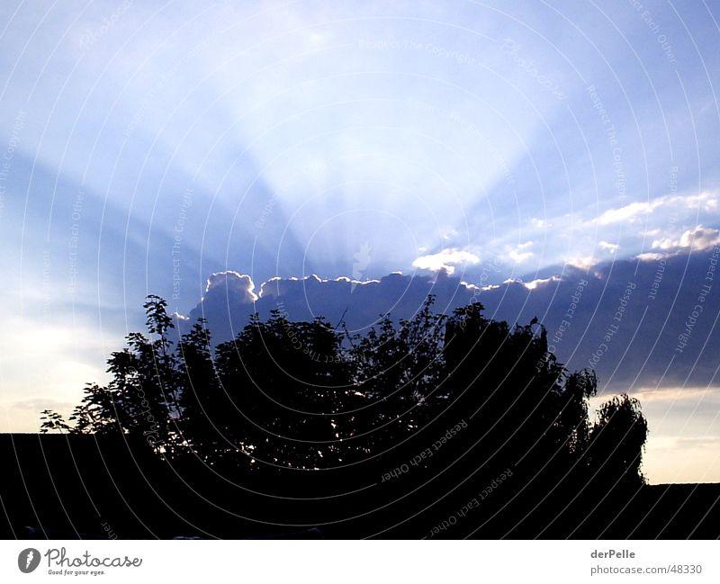 Sonnenstrahlen hinter großer dunklen Wolke Wolken Sonnenuntergang Licht Himmel Beleuchtung Abend