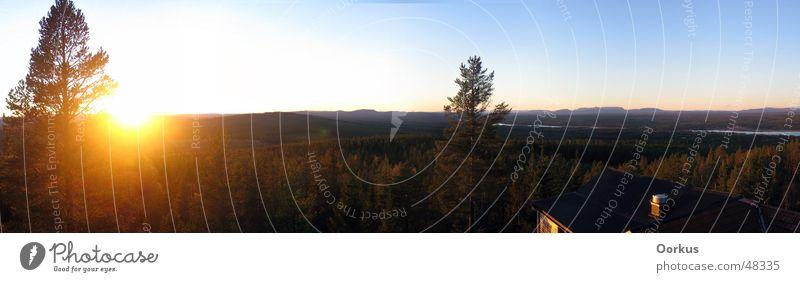 Weit Panorama (Aussicht) Dalarna Wald Sonne Himmel groß Panorama (Bildformat) Sonnenuntergang