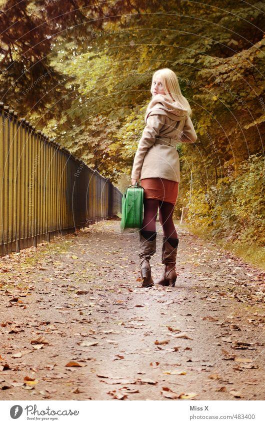 wohin? Mensch Natur Jugendliche Ferien & Urlaub & Reisen Junge Frau Blatt Ferne 18-30 Jahre Wald Erwachsene Leben feminin Gefühle Herbst Wege & Pfade Freiheit