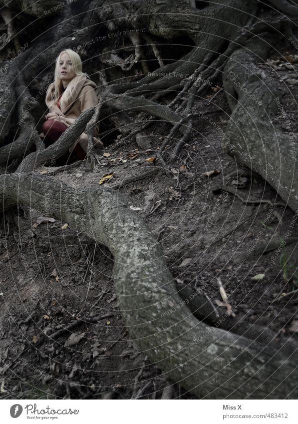 graue Maus Mensch feminin Frau Erwachsene 1 18-30 Jahre Jugendliche Erde schlechtes Wetter Nebel Baum Wald blond sitzen warten bedrohlich dunkel gruselig