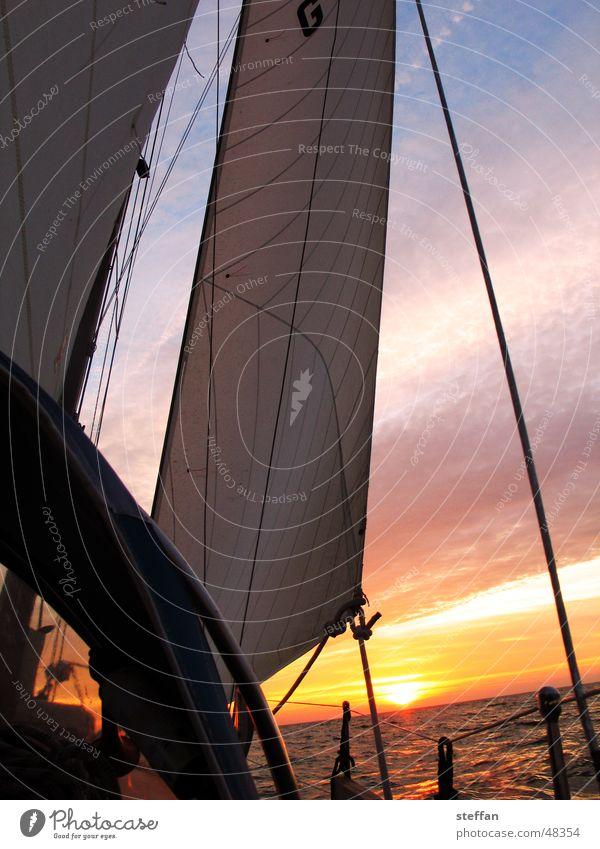 nachtsegeln Segeln Meer Ijsselmeer Niederlande Abendsonne Himmel Sport Sonne