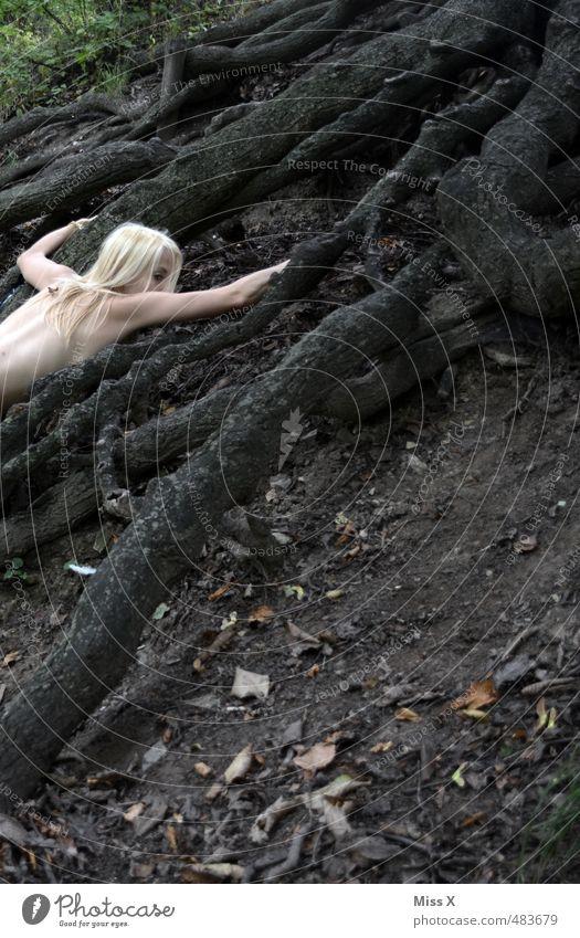 Krake Mensch feminin Rücken 1 18-30 Jahre Jugendliche Erwachsene Baum Wald Urwald blond langhaarig liegen dunkel gruselig Gefühle Stimmung Tod Angst Todesangst