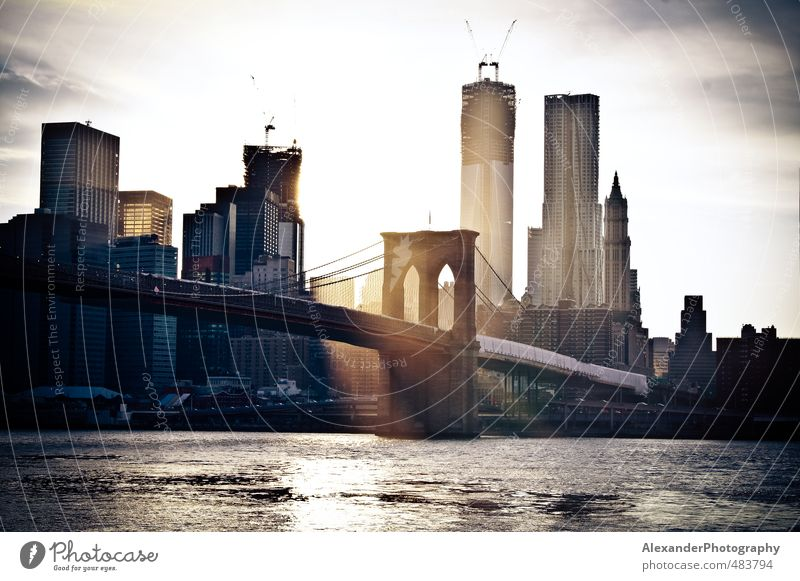 Brooklyn Bridge Idylle Brücke Skyline Hauptstadt Stars and Stripes New York City Manhattan Nordamerika Brooklyn Brooklyn Bridge