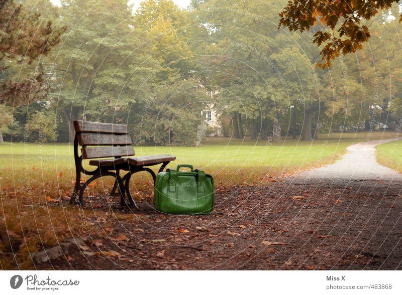 Bank im Park Ferien & Urlaub & Reisen Baum Einsamkeit Gefühle Herbst Wege & Pfade Freiheit Stimmung Nebel Ausflug Abenteuer Fernweh Nostalgie Trennung Koffer