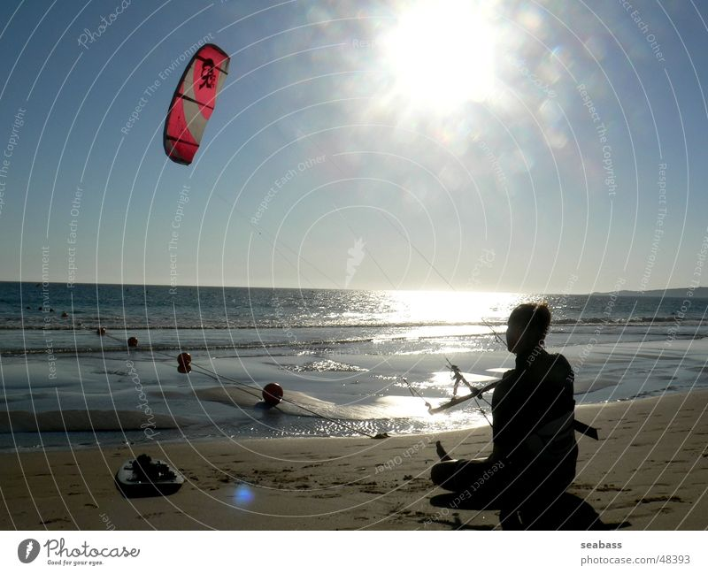 Ruhepause Sonne Meer Strand ruhig Ferne Pause Kiting Kiter