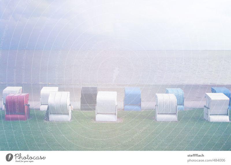 Verblassende Sommer Erinnerung Landschaft Sand Wasser Himmel Horizont Herbst Nebel Wellen Küste Strand Nordsee Menschenleer Erholung frieren Schwimmen & Baden