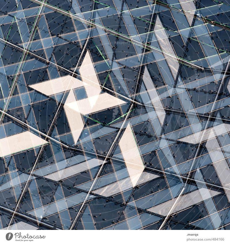 Stern modern Stil Design Fassade Fenster Glas Linie Streifen Stern (Symbol) außergewöhnlich trendy einzigartig verrückt blau weiß ästhetisch Perspektive