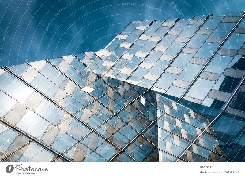 Triple elegant Stil Design Himmel Haus Hochhaus Bankgebäude Bauwerk Gebäude Architektur Fassade Fenster Glas Metall Linie hell trendy hoch einzigartig modern