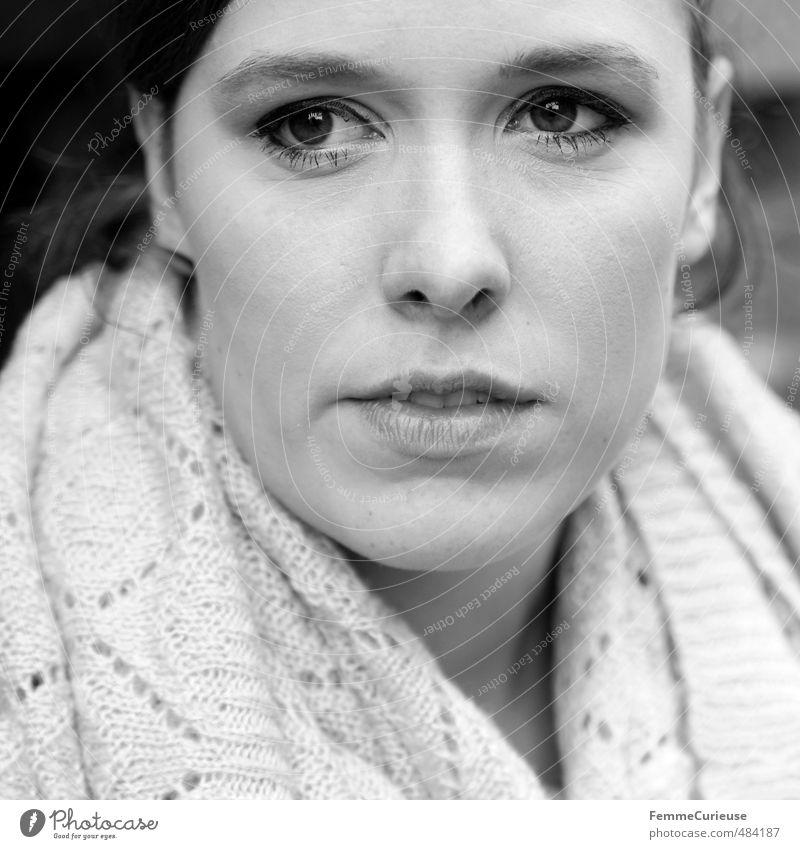 Mysterious Woman (III). elegant Stil schön feminin Junge Frau Jugendliche Erwachsene Kopf Gesicht 1 Mensch 18-30 Jahre Nahaufnahme braunes Auge brünett Schal