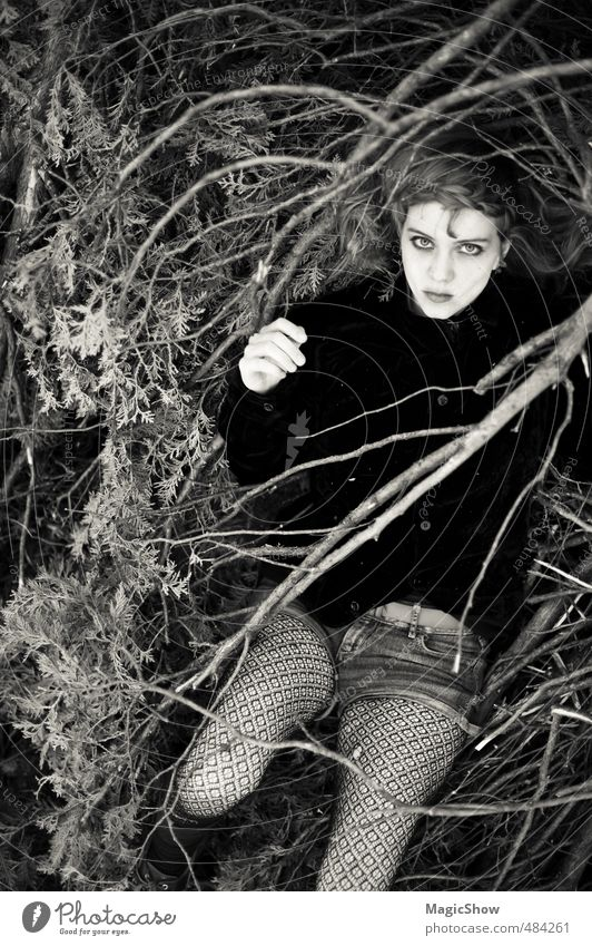 Mensch in seinem Nest. feminin Junge Frau Jugendliche Haut 1 18-30 Jahre Erwachsene Natur Garten liegen schwarz Blick bleich Holz Naturliebe dunkel tief