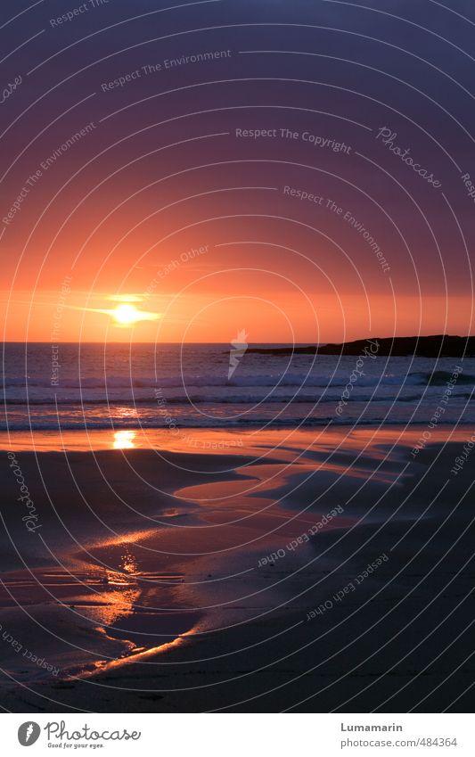Zeitverlauf Umwelt Landschaft Urelemente Sand Feuer Luft Wasser Wolkenloser Himmel Horizont Sonnenaufgang Sonnenuntergang Schönes Wetter Wellen Strand Meer
