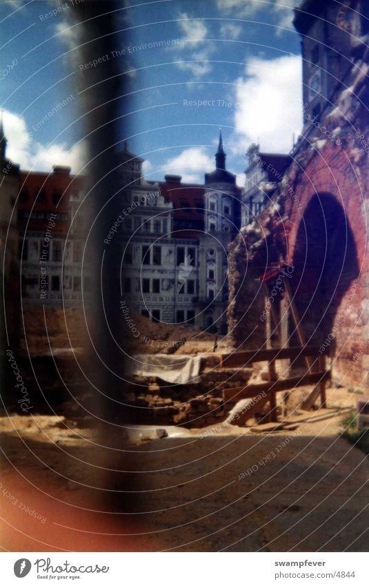 Baustelle Architektur Dresden historisch Gitter streben Käfig Sachsen