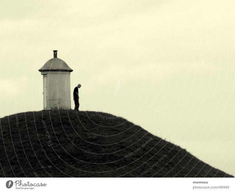 Depression Mann Hügel Wiese Einsamkeit Berge u. Gebirge Himmel deprssion