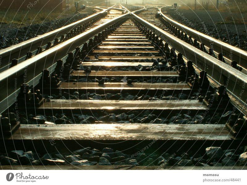 ...endlos Gleise Licht Unendlichkeit Eisenbahn Schatten Detailaufnahme Bahnhof Wege & Pfade