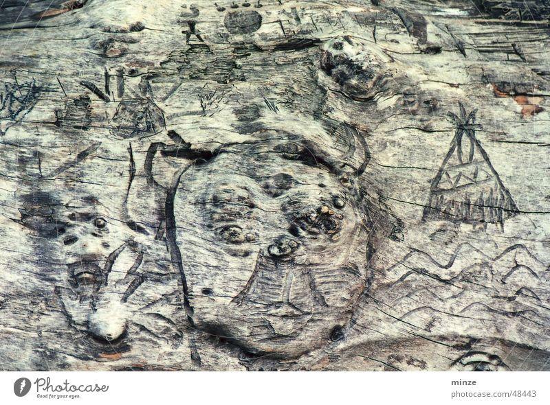 ethno_3 Gesicht Holz Dinge verfallen Symbole & Metaphern Furche Ikon Indianer Ethnologie